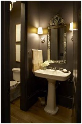 Gallery For Website This is the same shape as our bathroom like the dark colour in a small space Eclectic Powder Room Design Pictures Remodel Decor and Ideas