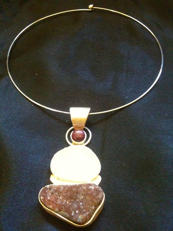 Quartz and Garnet Handmade Necklace