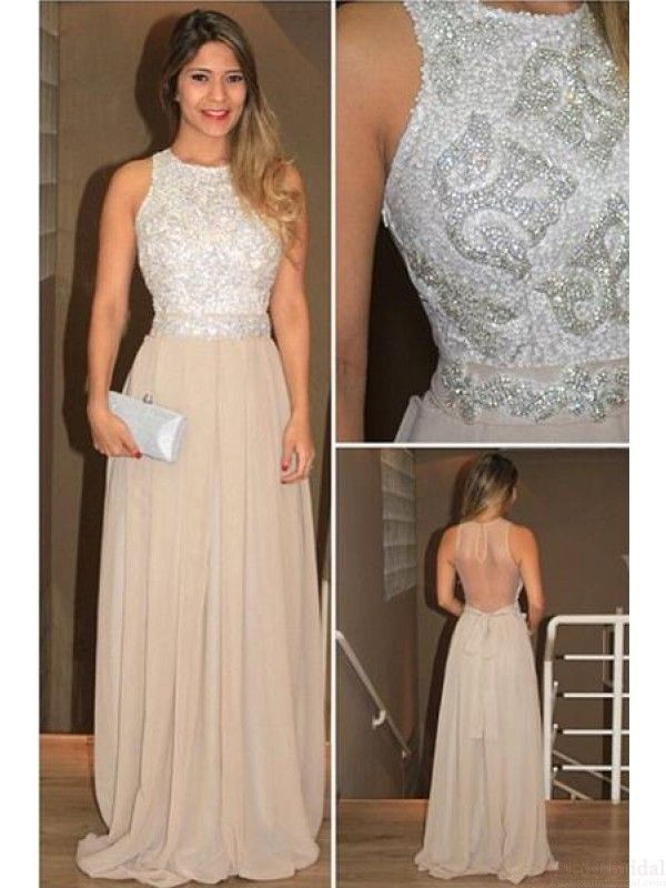 Halter Beading Bodice Long Chiffon  Prom Dresses Evening  Dresses  #SIMIBridal #promdresses