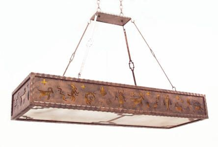 This great pendant style kitchen light would work perfectly over an island in my dream southwestern kitchen. The coppery color reflects the desert landscape and the petroglyphs are representive of those found at Mesa Verde and other sites.  #LGLimitlessDesign #Contest  CCFL270-52-4-Pendant_petroglyphs_sw_bottom_C154_hdr