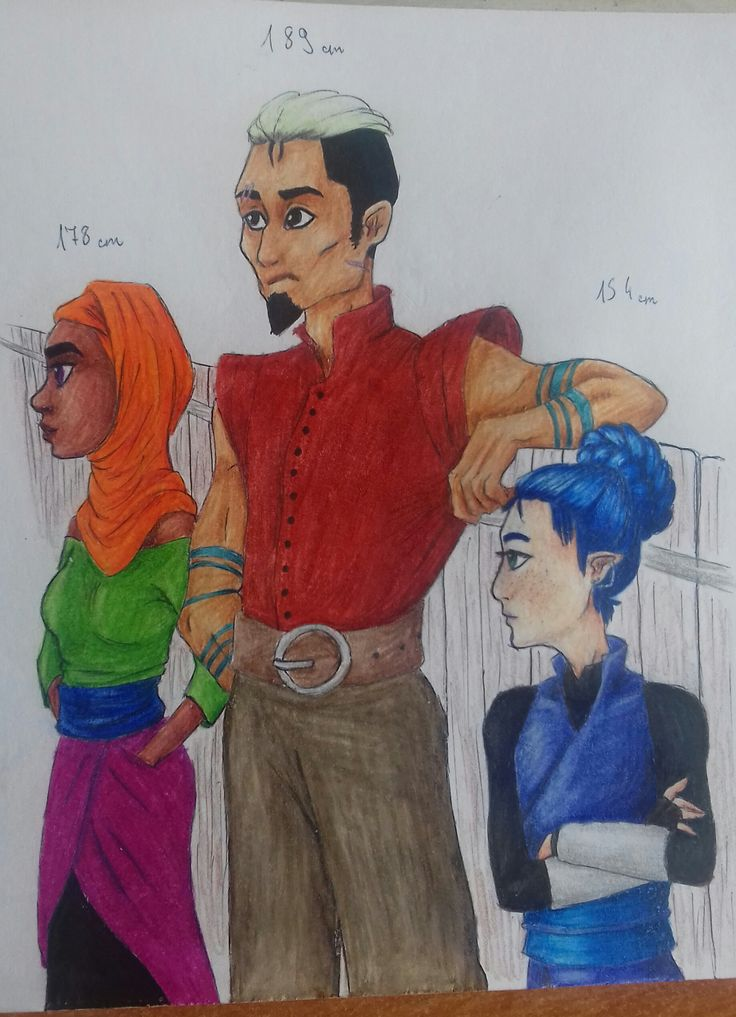 And here's a drawing of all three of them; Helia, Eos and Ordul. The height differences were one hell to draw but I think I did a fairly good job with it... As usual, done with colored pencils, sharpies and a black pen, captured with my phone's camera.