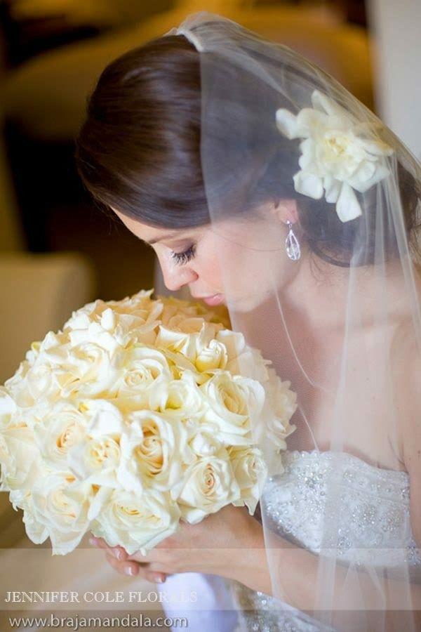 Gorgeous Bridal Portrait: White Roses + White Gardenias Wedding Bouquet With Fresh Gardenias In Bride's Hair