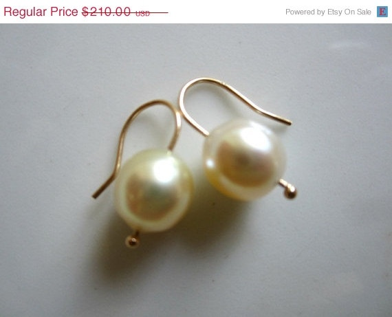 South Sea Pearl Earrings 14K Gold  Cream White Drops Christmas in July Sale. $178.50, via Etsy.