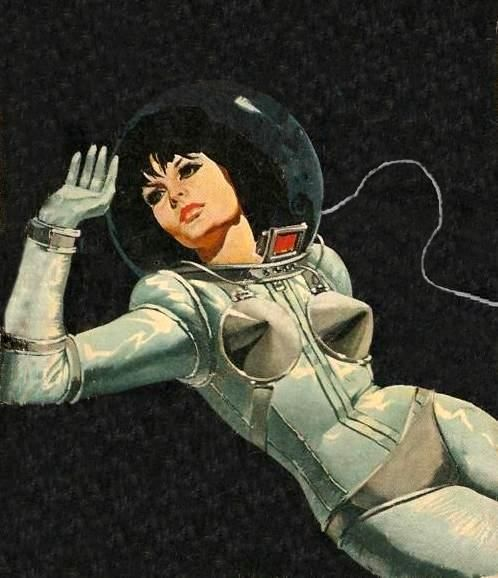 """From the paperback """"Uma Espia Em Orbita2"""" by Vintage Cool 2, via Flickr* Retro futurism back to the future tomorrow tomorrowland space planet age sci-fi pulp flying train airship steampunk dieselpunk spacesuit"""