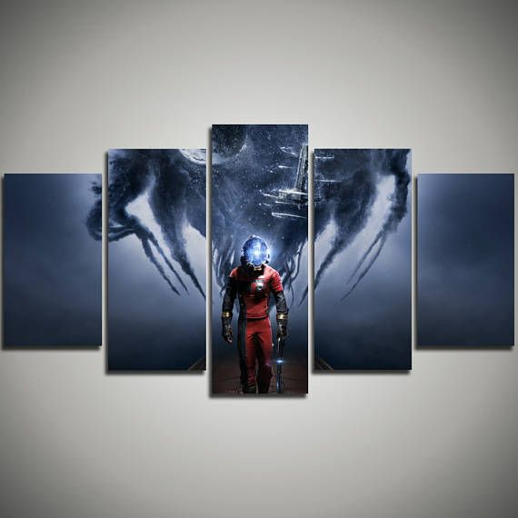Video Game extra large art - Prey large canvas print - First Person Shooter wall art canvas - Earth Moon gift for kids - 5 panel canvas 174…