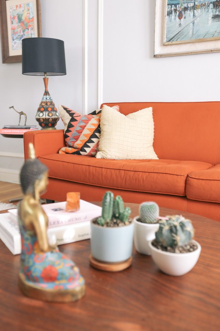 A Spanish-Style Home in San Francisco That Balances Function and Beauty | Design*Sponge //orange sofa