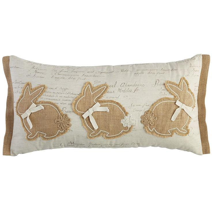 Three Natural Bunnies Lumbar Pillow Easter Decor