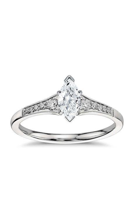 graduated milgrain diamond engagement ring in platinum