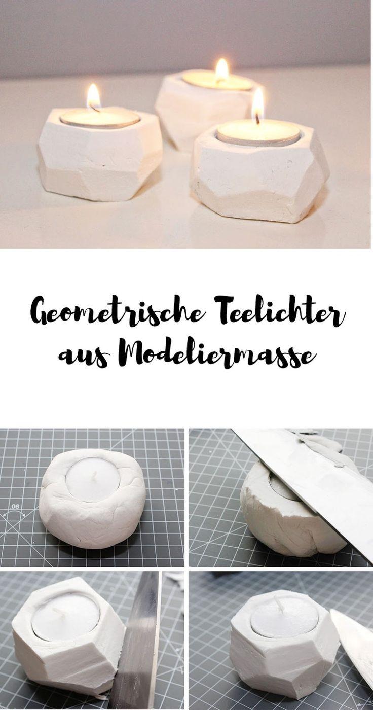 Geometrische Teelichter aus Modelliermasse basteln