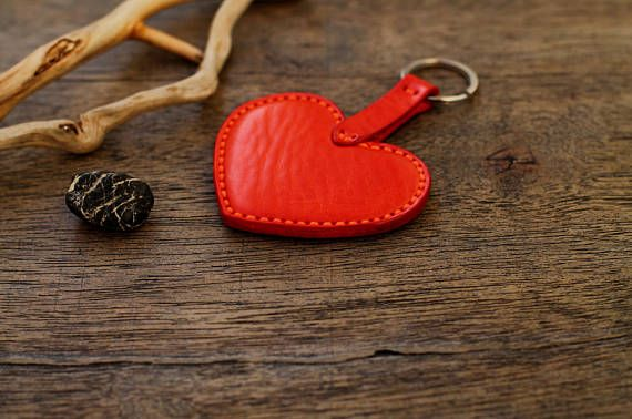 Leather Heart Keychain  Genuine Leather  Perfect Gift For Him or Her  Show Love This Valentine/'s Day