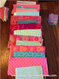 Pinks and blues ready to quilt