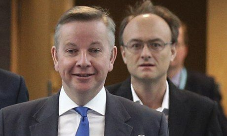 Education secretary Michael Gove, left, with policy adviser Dominic Cummings. Photograph: Oli Scarff/Getty Images
