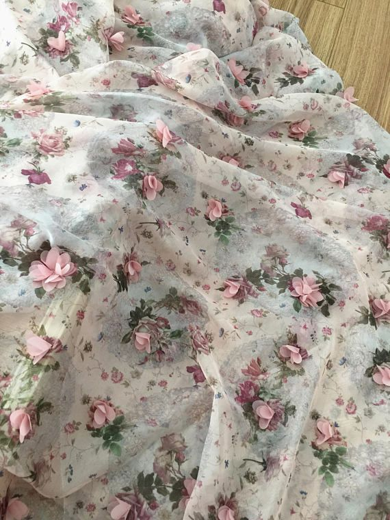 beautiful 3d blossom chiffon lace fabric with dust pink 3D laser cut blossoms , top quality and excellent flowy .  A lot of 3d chiffon rosette on back printing embroidery chiffon fabric Width is about 140 cm / 55  , price is for one yard, more buying will be cut as one piece .   Smililar style  https://www.etsy.com/listing/466965798/3d-blossom-lace-fabric-in-peach-tulle?ref=shop_home_active_14  https://www.etsy.com/listing/475437720/...
