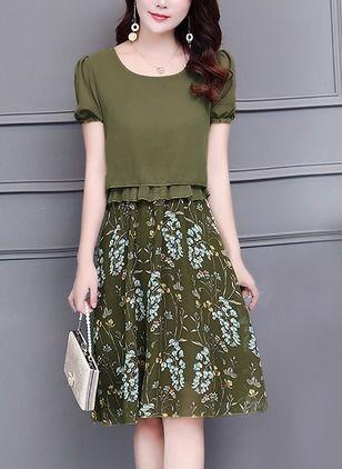 Floral Skater Short Sleeve Knee-Length A-line Dress