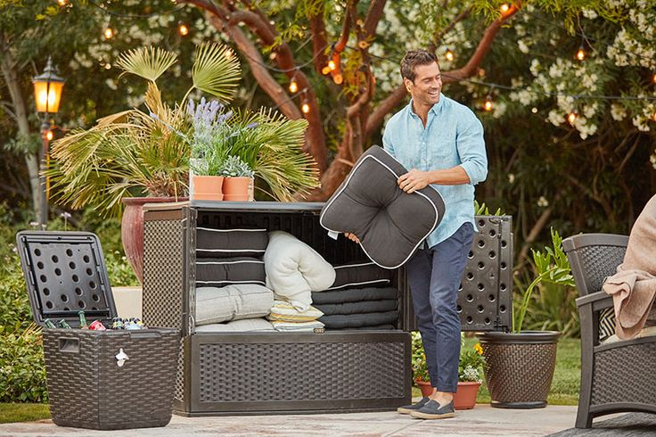 Suncast deck boxes come in lots of sizes to store all his summer outdoor essentials.