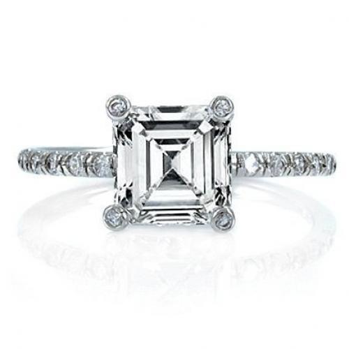 Bling Jewelry 925 Sterling Art Deco Asscher Cut CZ Engagement Wedding Ring 2.9ct
