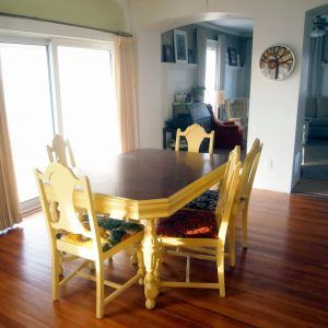 Yellow Wood Dining Room Table