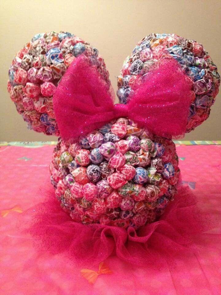 Minnie lollipop head. Made using three Styrofoam balls and dowels.