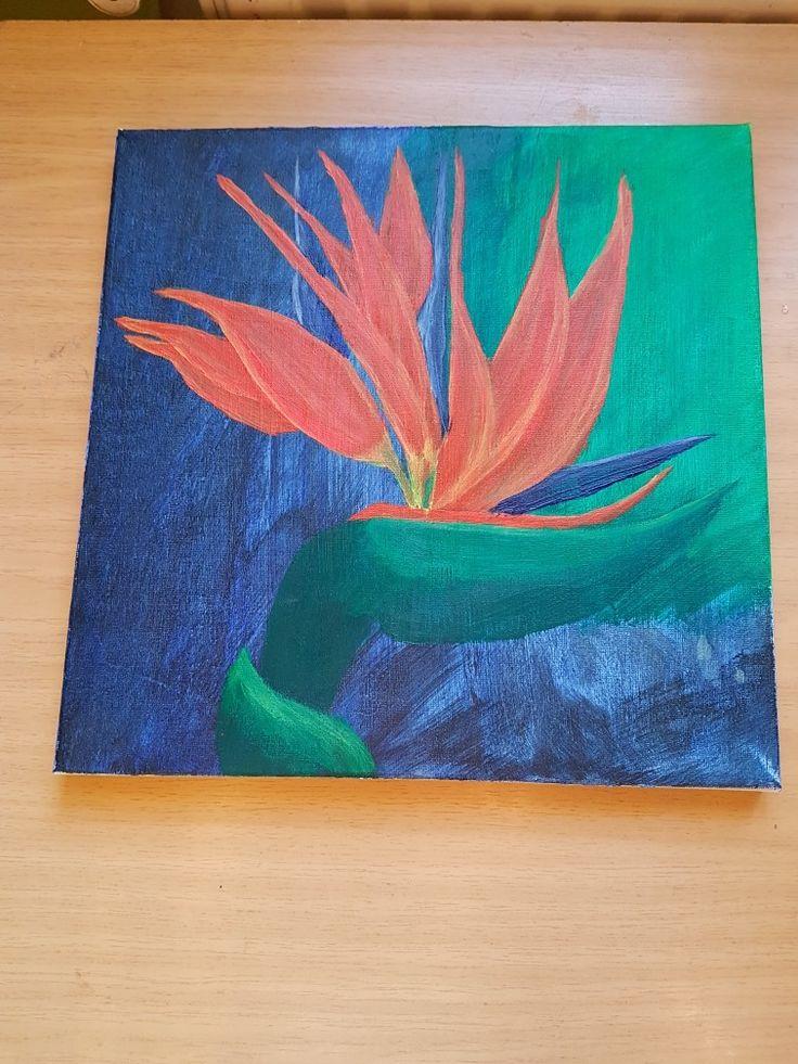 Acrylic painted bird of paradise