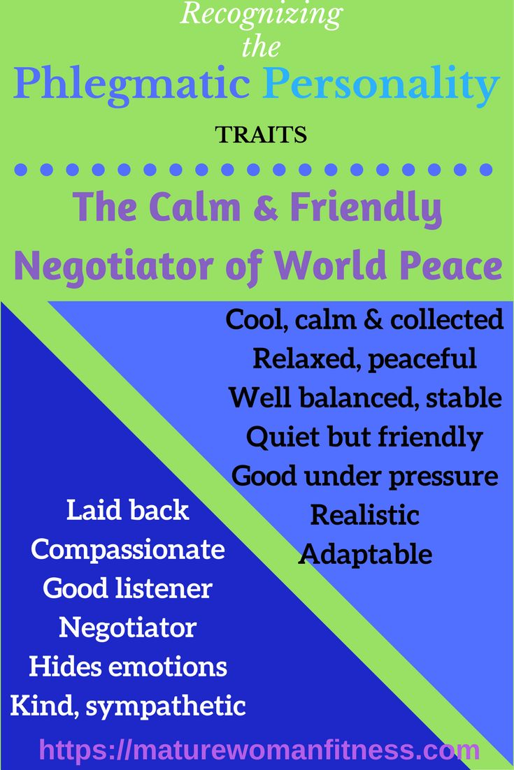 Personality traits of the laid-back, people-friendly Phlegmatic personality.