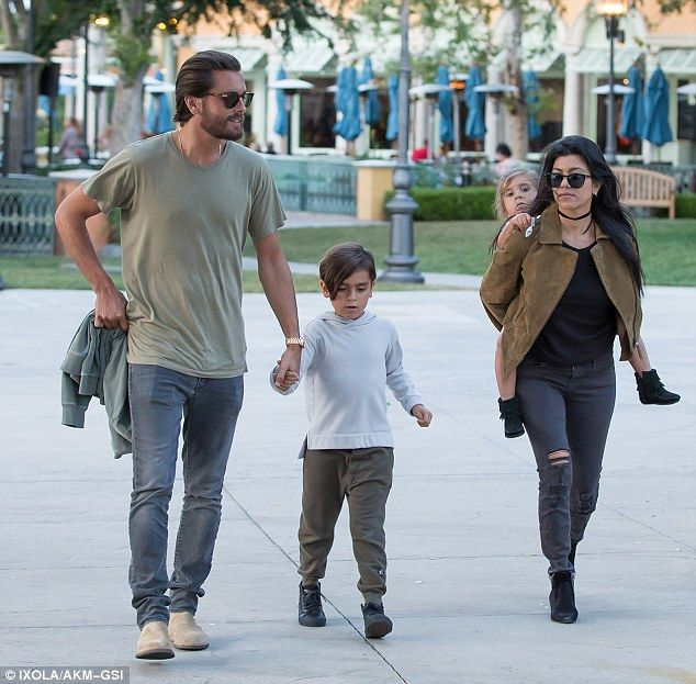 Family outing: Scott Disick reunited with Kourtney Kardashian for an early Mother's Day dinner with their son Mason, six, and daughter Penelope, three, in Calabasas on Saturday