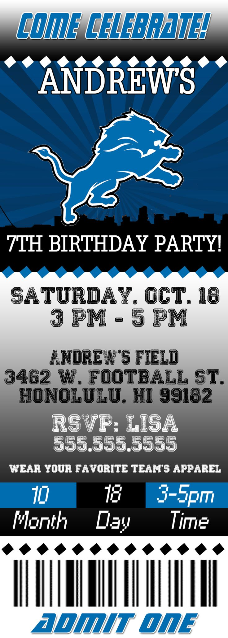 NFL Detroit Lions  Ticket Birthday Invitation