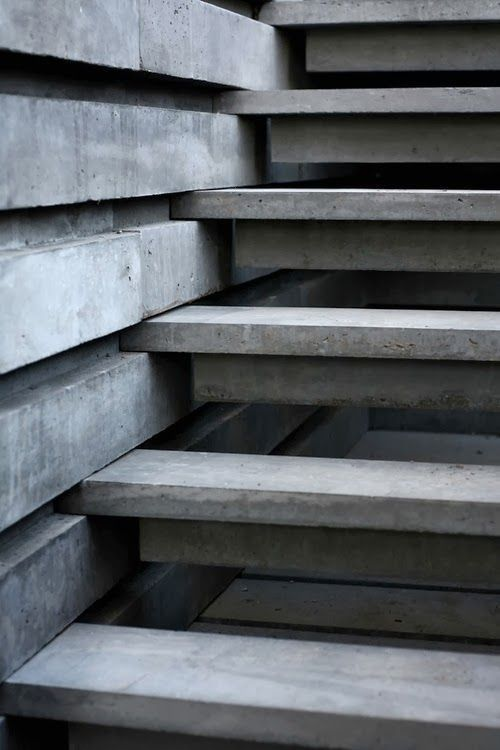 "thedesignwalker:  ""concrete: sure footing"". Interesting staircase concept."