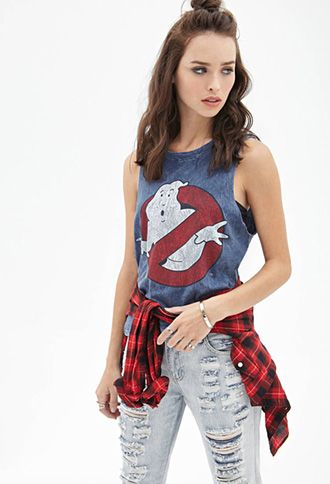 Distressed Ghostbusters Muscle Tank   FOREVER21 - 2000081699
