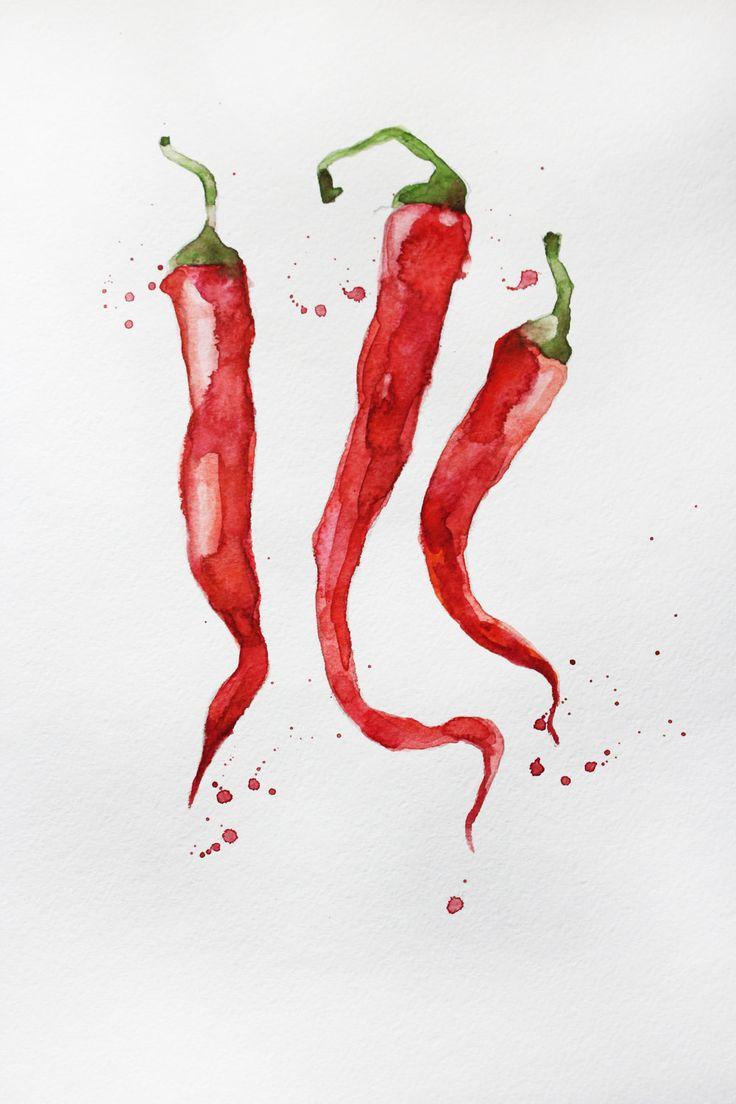 Original Watercolor Painting, pepper Organic art, Vegetables art, pepper watercolor, Kitchen decor, watercolor pepper Art OOAK by MaryArtStudio on Etsy