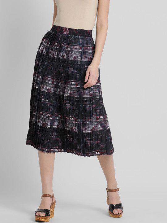 9f19cdc0d369 Leo Sansini Women Black Printed Flared Skirt - | 1139 | Shorts ...