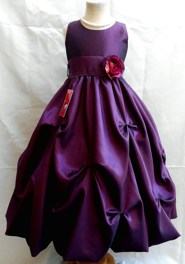 NEW PLUM/DARK PURPLE JR. BRIDESMAID PAGEANT FLOWER GIRL DRESS 2 4 6 8 10 12 14 in Clothing, Shoes & Accessories, Wedding & Formal Occasion, Girls' Formal Occasion | eBay