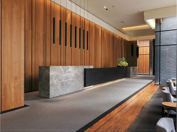 Image result for modern rustic industrial hotel lobby design