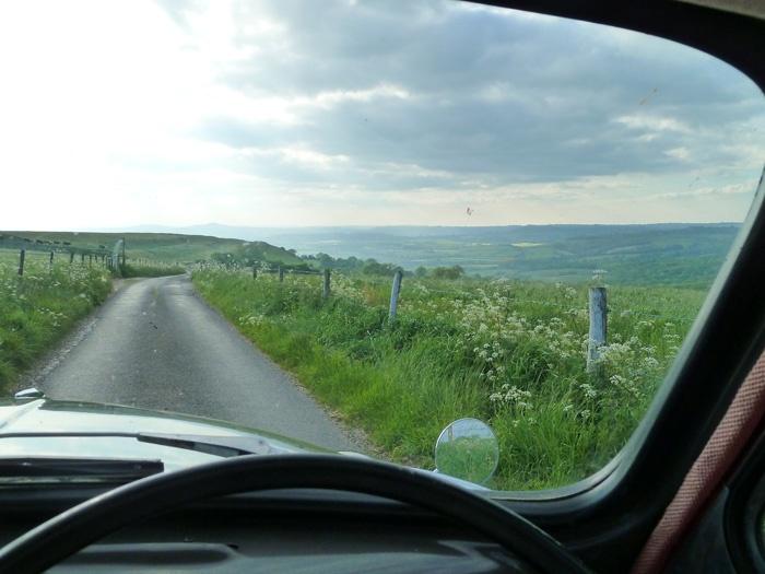 ♕ road trip ♥ Ben Pentreath, view through the screen of a Morris Minor