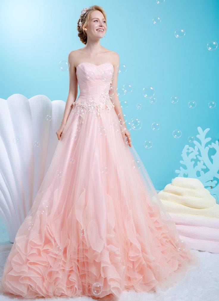 Sweetheart neckline pastel peach gown with ruffles design at the hem   Wedding Dresses   Bridal Boutique Singapore   Wedding Gown Singapore   Wedding Dress Singapore   Wedding Packages Singapore   Wedding Gown Rental   Wedding Gown Purchase