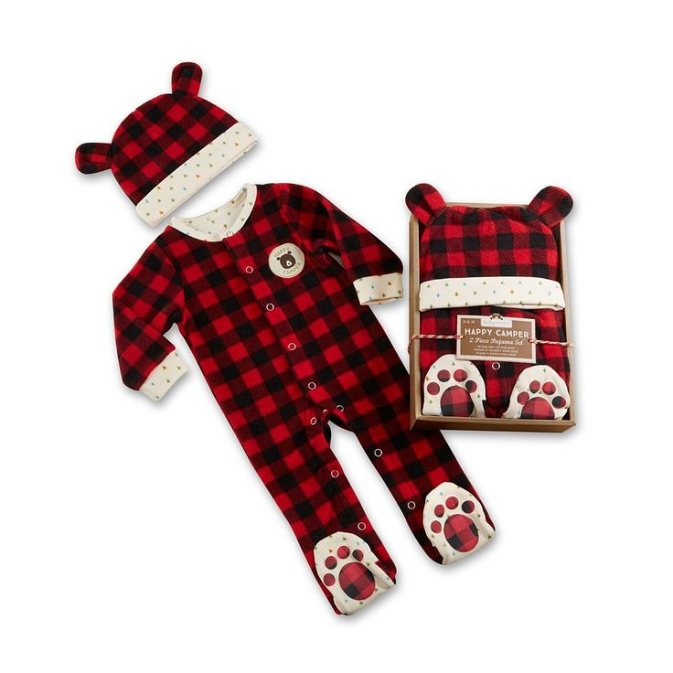 Baby Aspen Red Plaid Fleece Pajama Gift Set, Infant Boy's, Multicolor