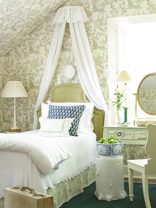 Atlanta Cottage Toile bedroom by Dan Carithers - Traditional Home