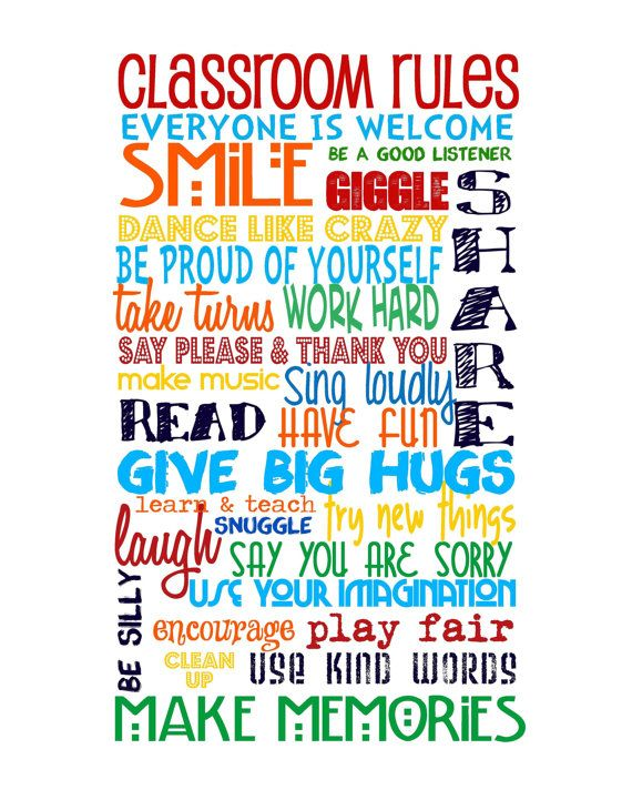 Classroom Rules - Primary Colors with Classroom Rules on top - Digital File -  A PERFECT TEACHER GIFT