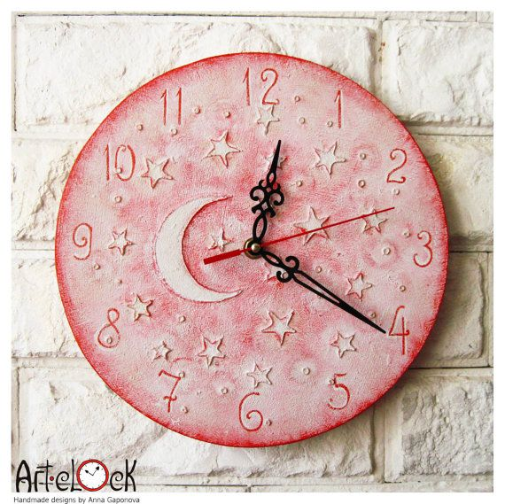 The Pink Moon and Stars Wall Clock Home Decor for Children Baby Kid Girl Nursery Playroom on Etsy, $29.90