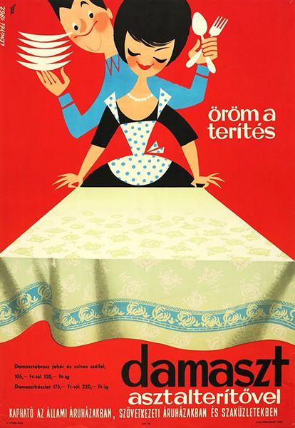 Lengyel, Sándor - Setting the table is a pleasure with a damask tablecloth, 1962