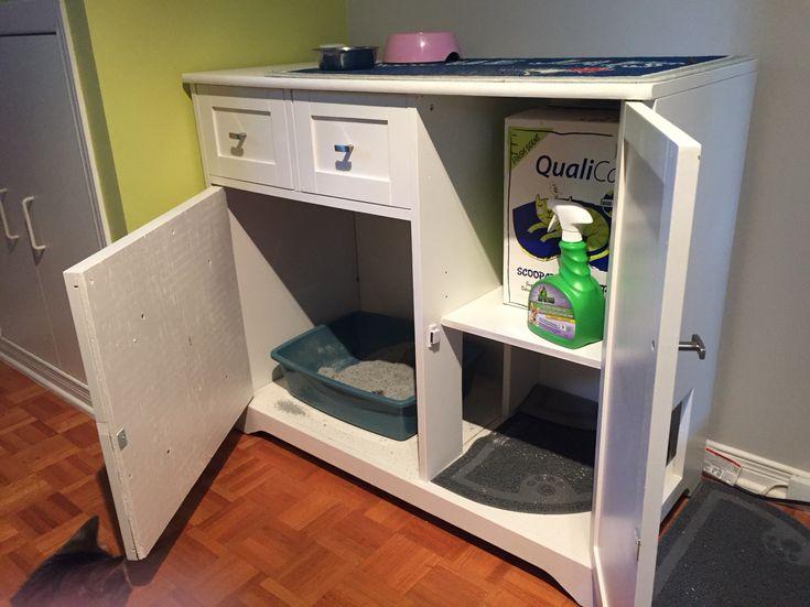 les 25 meilleures id es de la cat gorie meuble litiere chat sur pinterest liti re pour chat. Black Bedroom Furniture Sets. Home Design Ideas