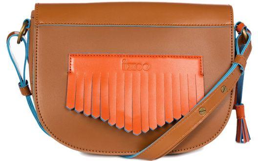 Sac demi-lune en cuir marron et bleu à franges orange, Ixoo