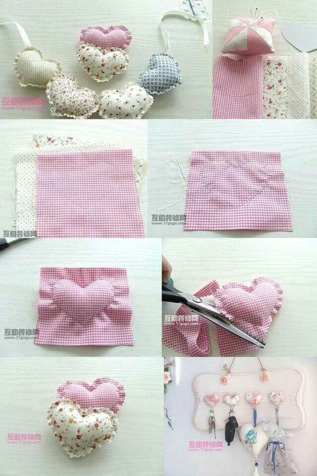 Hacer corazones de tela | Presentes | Pinterest | Sewing, DIY y Crafts