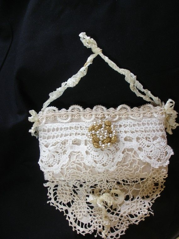 images of shabby chic purses | Ivory Lace Wedding Purse Shabby Chic Finest by ShatteredPrincess