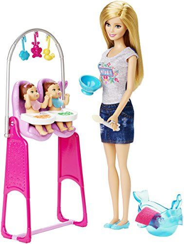 Explore new careers in depth with the Barbie careers play sets. From medicine to teaching Barbie makes anything possible! the Barbie careers twin babysitter set is double the fun with two little tots...