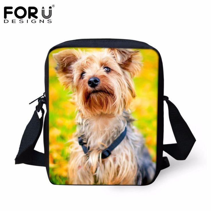 FORUDESIGNS Women Messenger Bags Cute Animal Yorkshire Dog Prints Small Handbags Messenger Bags for Ladies Brand Design Mochil