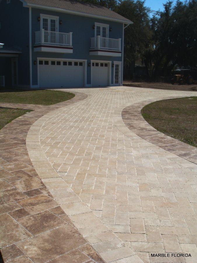 6x12 Mediterranean Walnut Driveway Pavers With Noce Tile