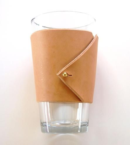 A classy drink sleeve cut and sewn entirely by hand. Love this.