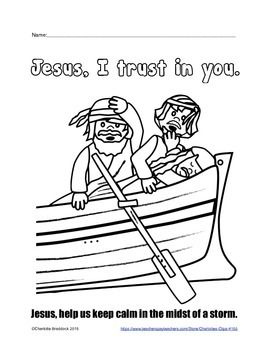 Jesus Asleep In The Boat During A Storms With Two Scared Apostles Trying To Wake Him For HelpThis Would Be Great Bible Lesson Coloring Sheet