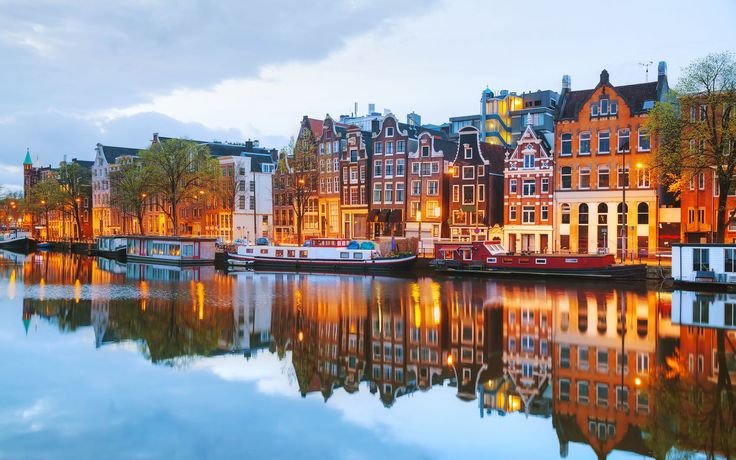 Man Made Amsterdam  City River House Reflection Wallpaper