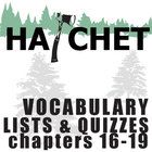 HATCHET Vocabulary List and Quiz (30 words, chs 16-19)  These 30 vocabulary words from chapters 16-19 of HATCHET will help students engage in the l...